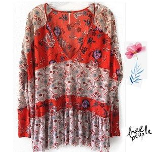 Free People Red floral Bohemian Tunic Top SZ S